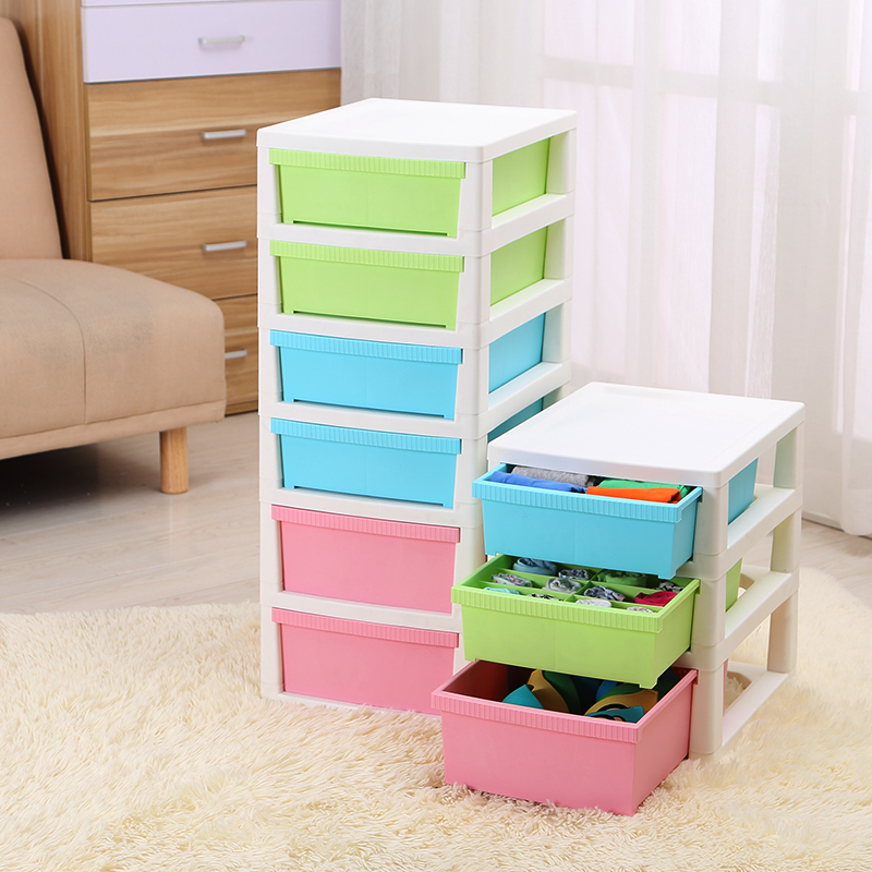 Honey honey flower plastic drawer storage cabinets baby wardrobe storage box finishing underwear storage cabinet children