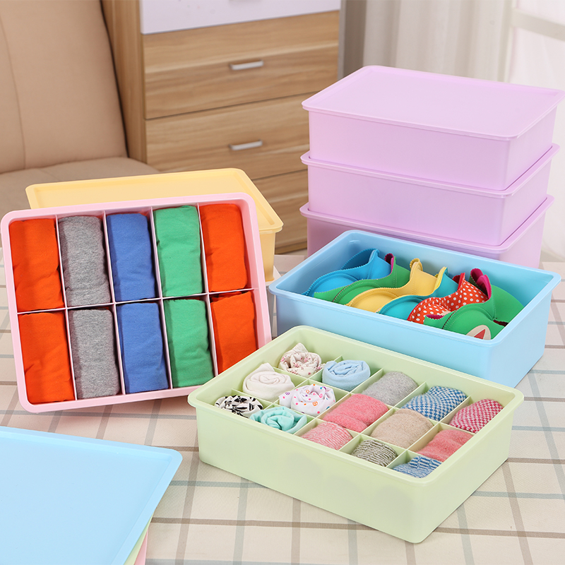 Honey honey flower thick plastic underwear storage box covered storage box underwear bra underwear socks finishing box desktop box