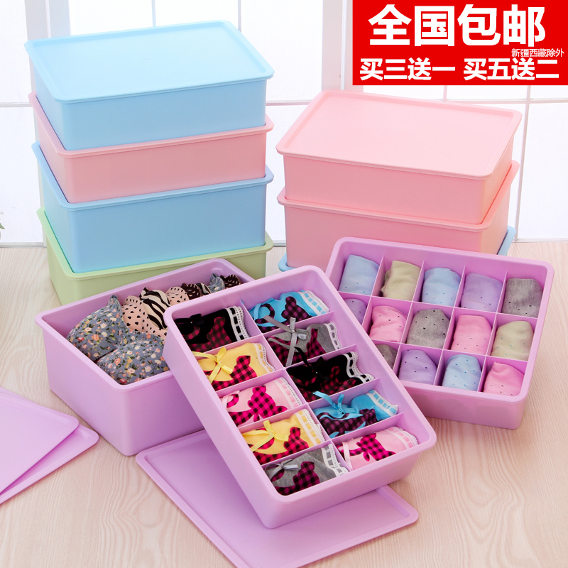 Honey honey flower thick underwear covered storage box bra underwear socks underwear drawer plastic storage box desktop finishing box