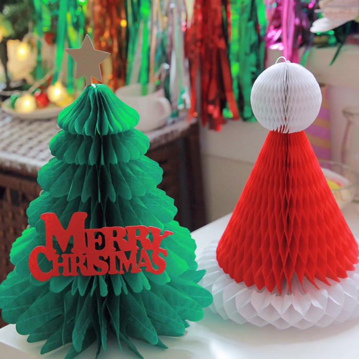 Honeycomb paper christmas tree christmas hats christmas decorations christmas window decoration party supplies birthday party dress party annual meeting
