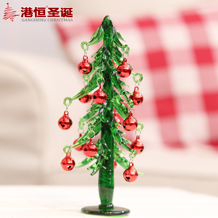 Hong kong hang 16x 7cm glass mini bell bell christmas tree glass christmas tree decoration 140g