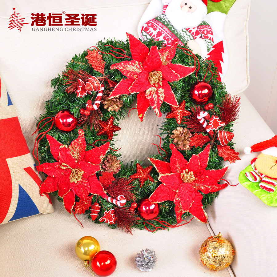 Hong kong hang christmas 50cm red christmas flower garland wreath decorated christmas window decoration 0.8 kg