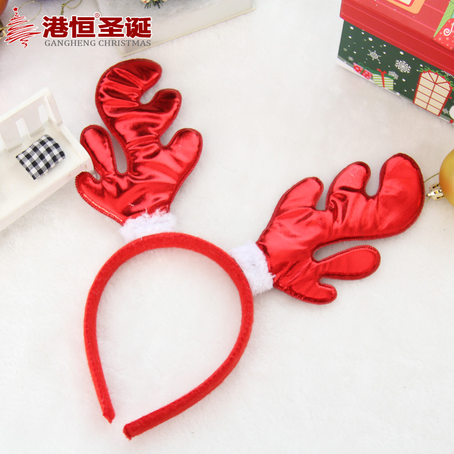 Hong kong hang christmas decorations garland bright cloth red and gold christmas antlers headband antlers headband 30g