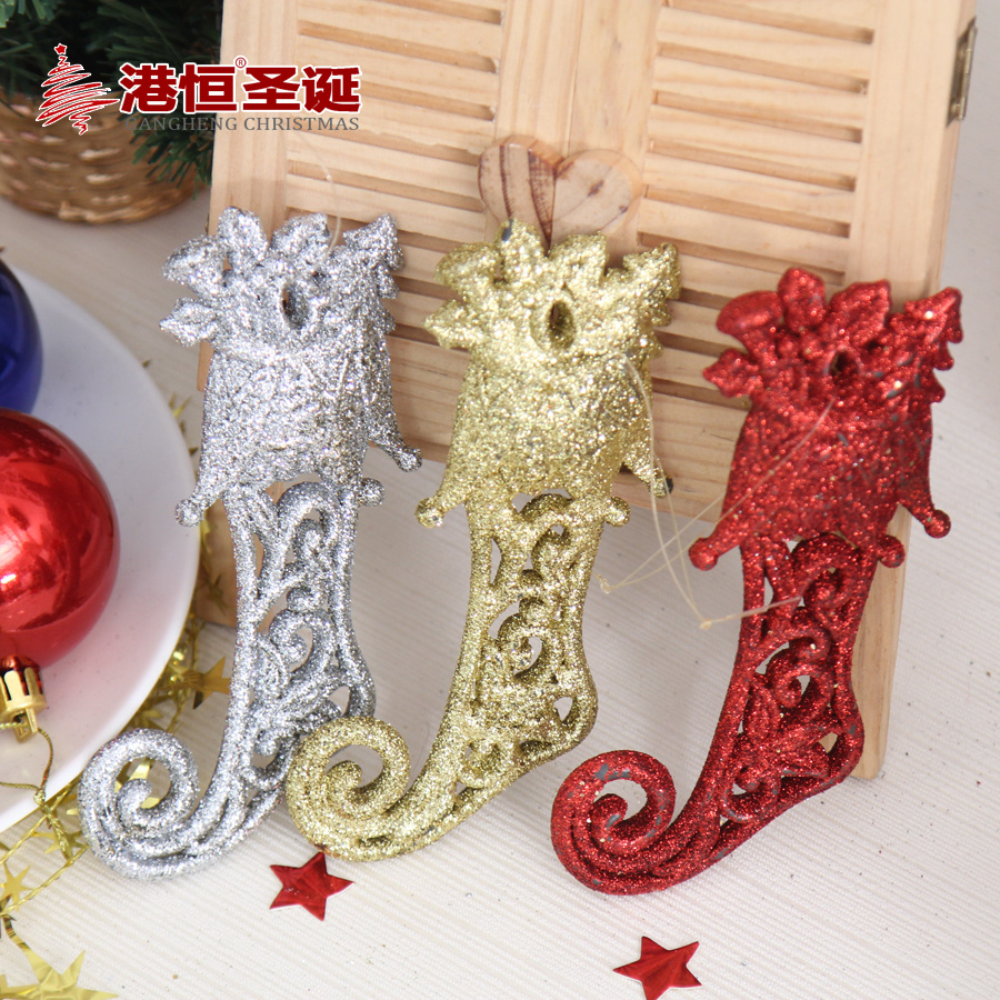 Hong kong hang christmas decorations x 6cm sticky powder gold red boots shaped christmas tree decorations christmas ornaments 35g