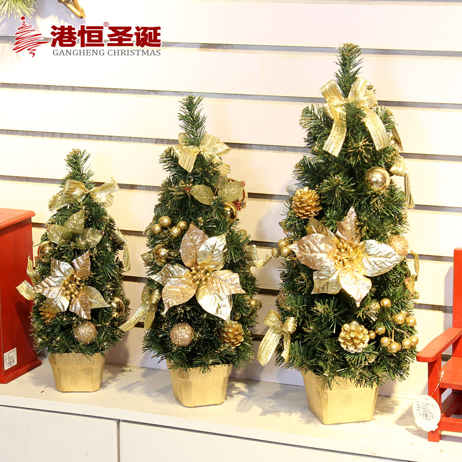 Hong kong hang christmas decorative bonsai tree 40cm50cm60cm 60cm red and gold decorative tabletop christmas tree decoration tree