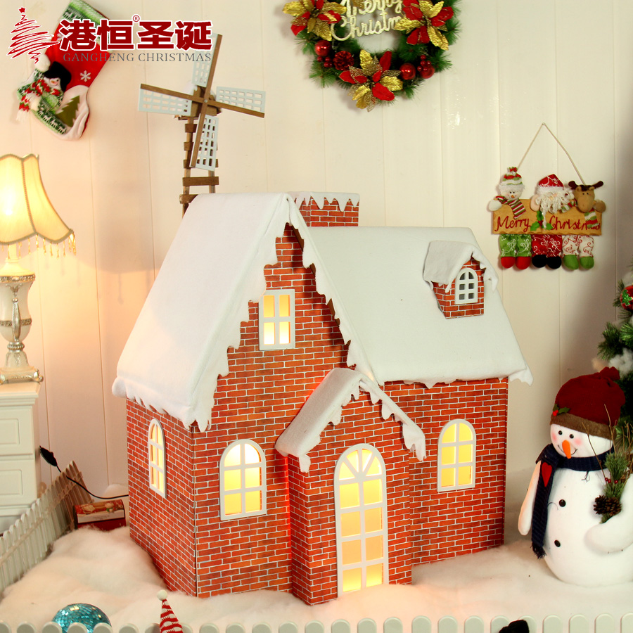 get quotations hong kong hang christmas house christmas snow house large solid wooden windmill small illuminated christmas house - Wooden Led Christmas Decoration