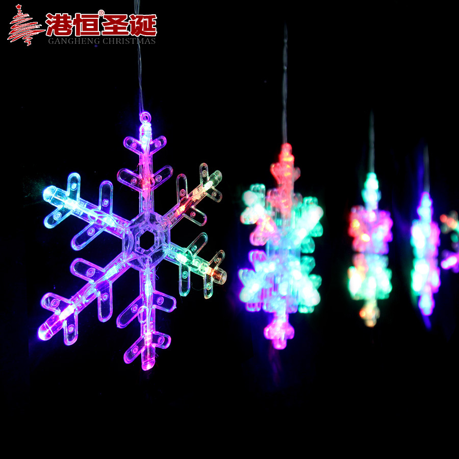 Hong kong hang christmas snowflake led lights 2.9 m since the flash colorful transparent window decoration snowflake string string lights 400g