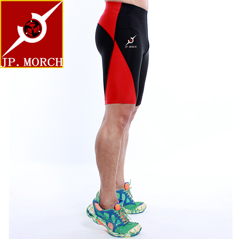 Hong kong jp. morch training marathon running shorts wicking breathable wicking compression shorts black and red