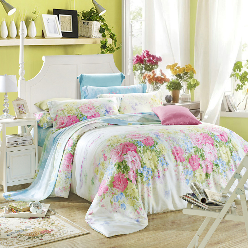Hongrun textile tencel denim summer new spring and summer bedding printed sheets and cool in summer quilt