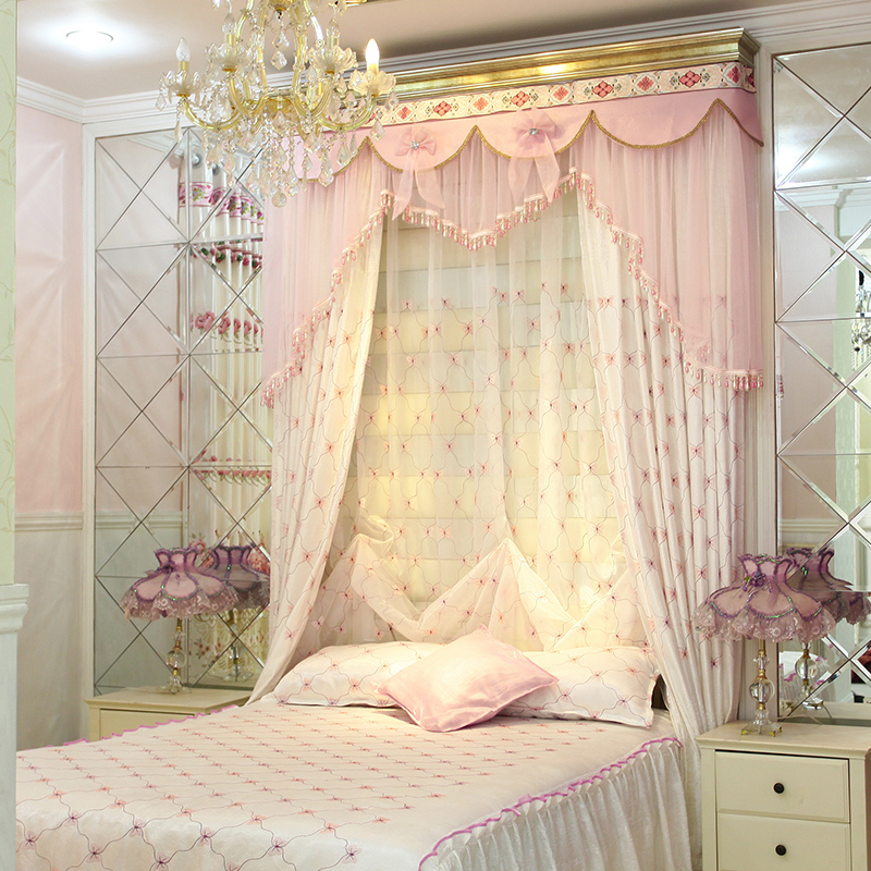 Get Quotations · Hongshan Jade Child Princess Cute Little Fresh Pink  Embroidered Curtains Marriage Room Bedroom Curtains Custom Curtains