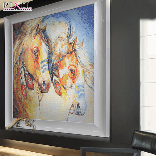Horse-product family mosaic tile puzzle fight euclidian chinese large gas bathroom mirror modern minimalist abstract paintings