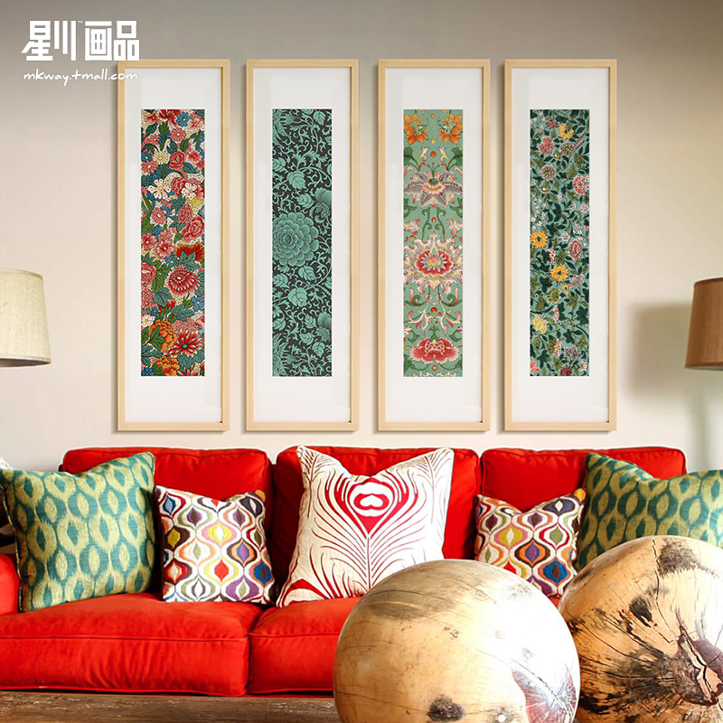 Hoshikawa new chinese flower painting decorative painting the living room paintings framed sofa backdrop mural painting wedding gift millefleurs poetry