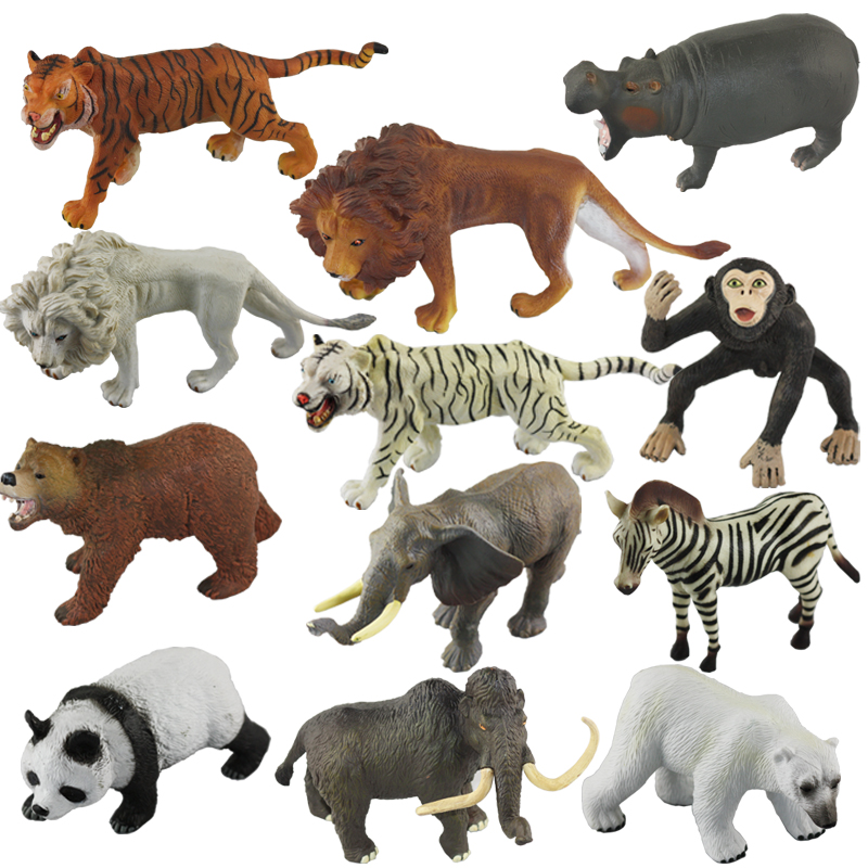 Hot simulation animal model toy tiger lion zebra prasertsak mammoth elephant bear and other wild animals