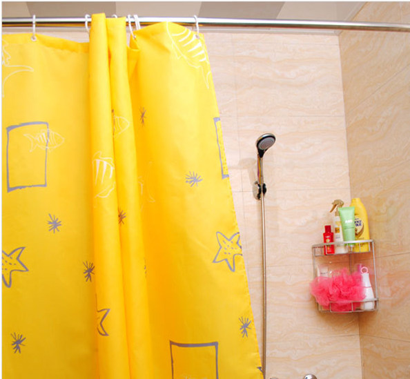 Hotel bathroom bathroom shower curtain fabric shower curtain thick waterproof mildew shower curtain bathroom window curtain curtain yellow sea