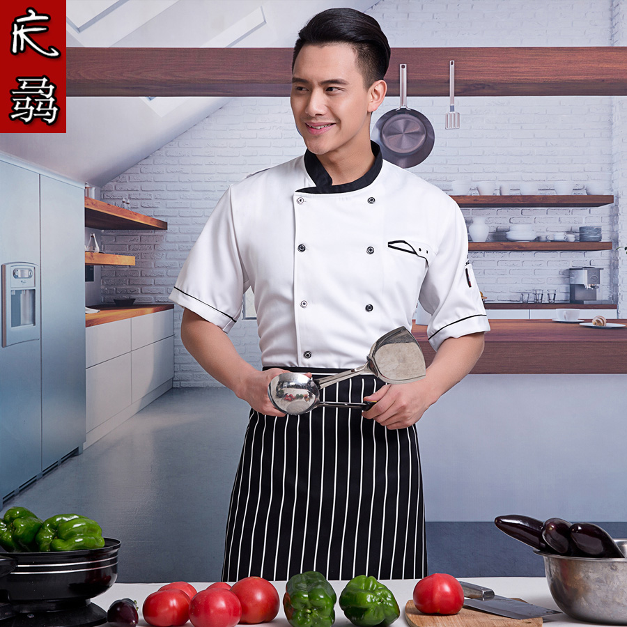 Hotel kitchen chef service men and women short sleeve spring and summer clothes chef uniforms chef service hotel chef uniforms chef apron
