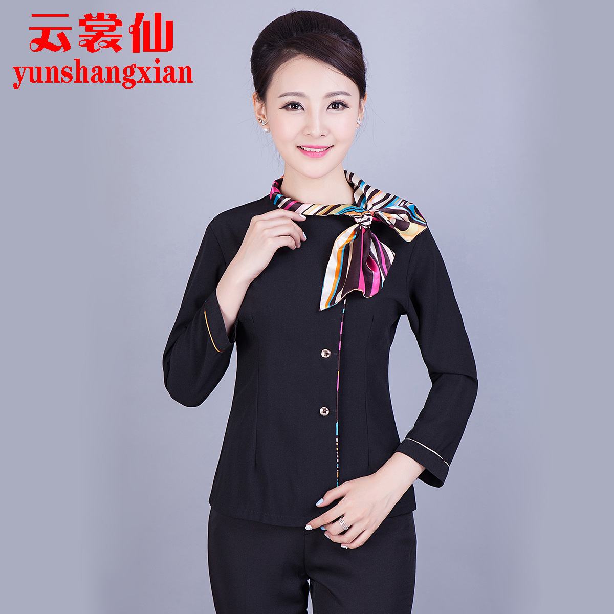 Hotel overalls fall and winter clothes fast food restaurant hotel front desk attendant uniforms female models thick long sleeve