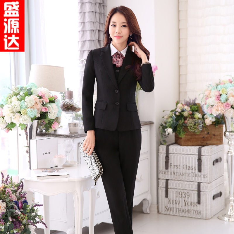Hotel overalls fall and winter clothes female stewardess uniforms sleeved suit beauty salon beautician overalls vest suit