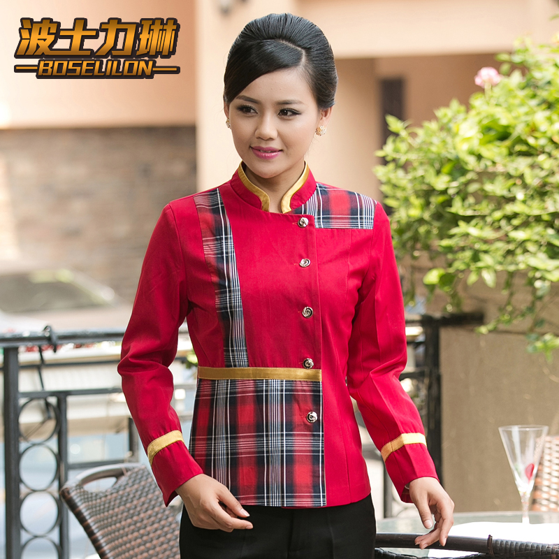Hotel overalls fall and winter clothes hot pot restaurant waiter sleeved uniforms hotel restaurant hotel reception overalls