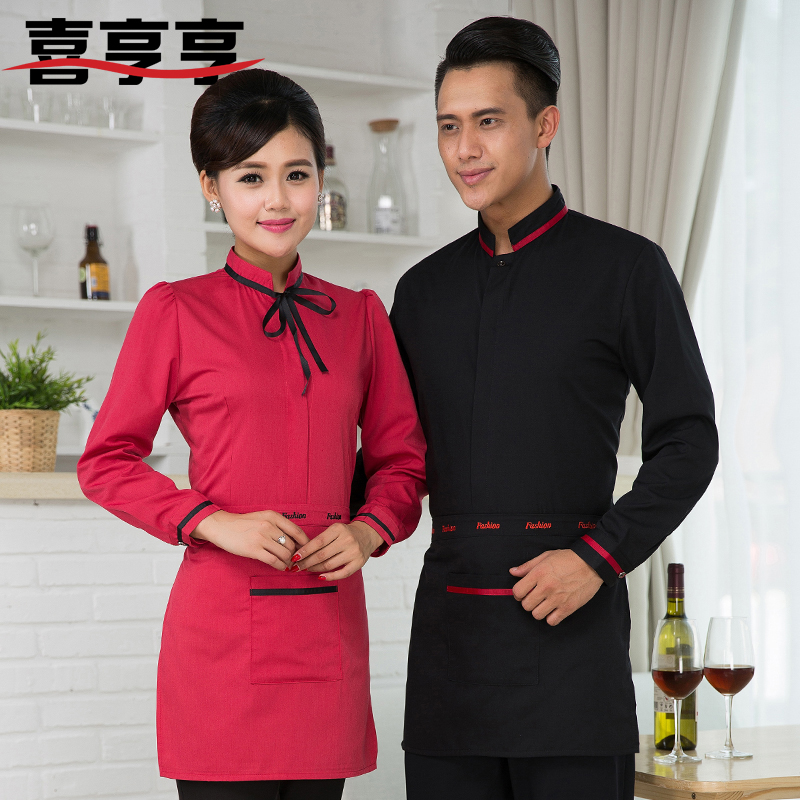 Hotel overalls fall and winter clothes new upscale hotel restaurant waiter sleeved work system thick male and female models
