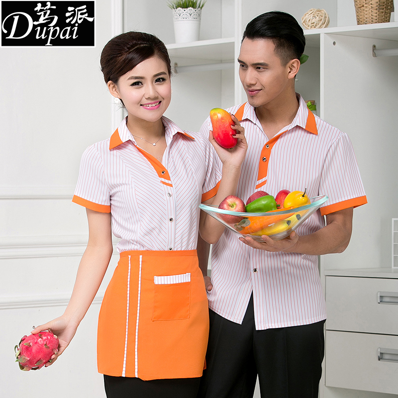 Hotel overalls summer clothes for men and women hotel restaurant hot pot restaurants catering fast food restaurant waiter overalls sleeved new
