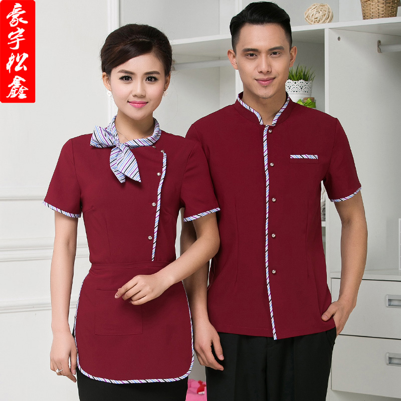 Hotel overalls summer hotel restaurant waiter sleeved overalls restaurant restaurant fast food restaurant uniforms for male and female