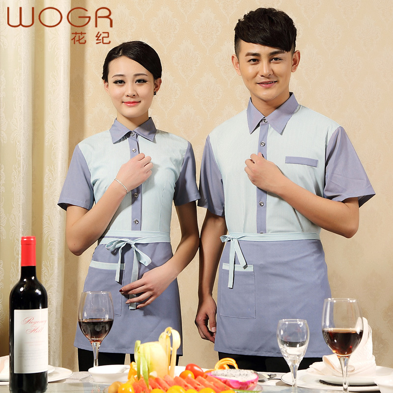 Hotel uniforms female summer fast food restaurant waiter overalls sleeved overalls hotel restaurant hotel uniforms summer