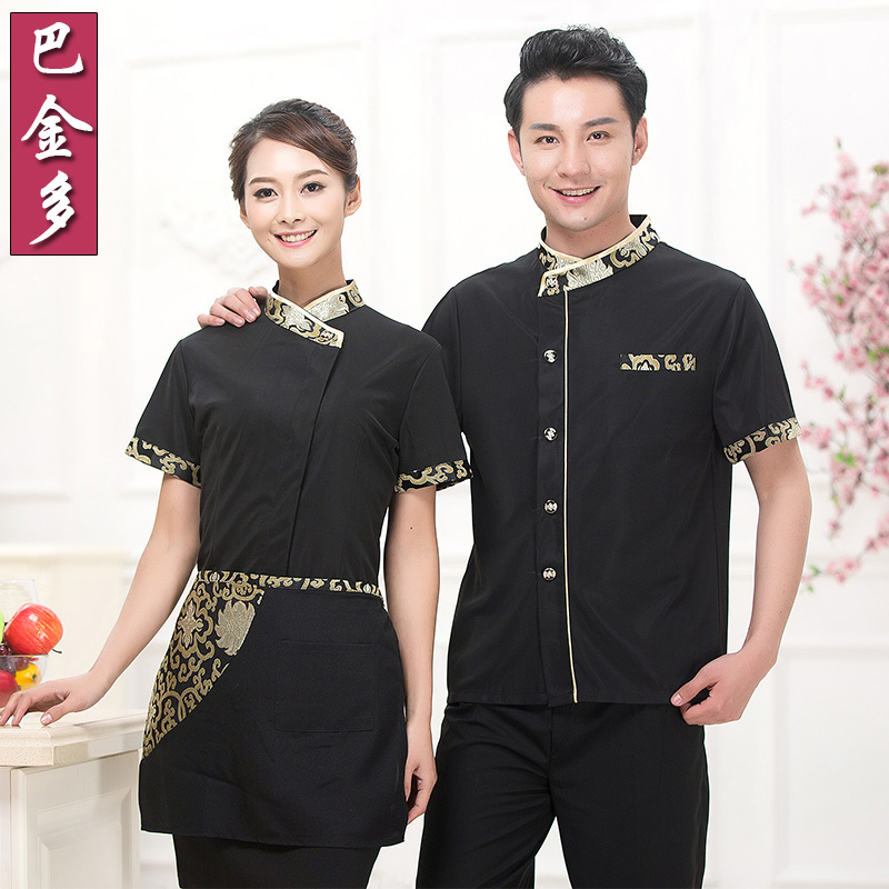 Hotel uniforms female summer hotel restaurant waiter overalls farmhouse pot shop uniforms short sleeve summer