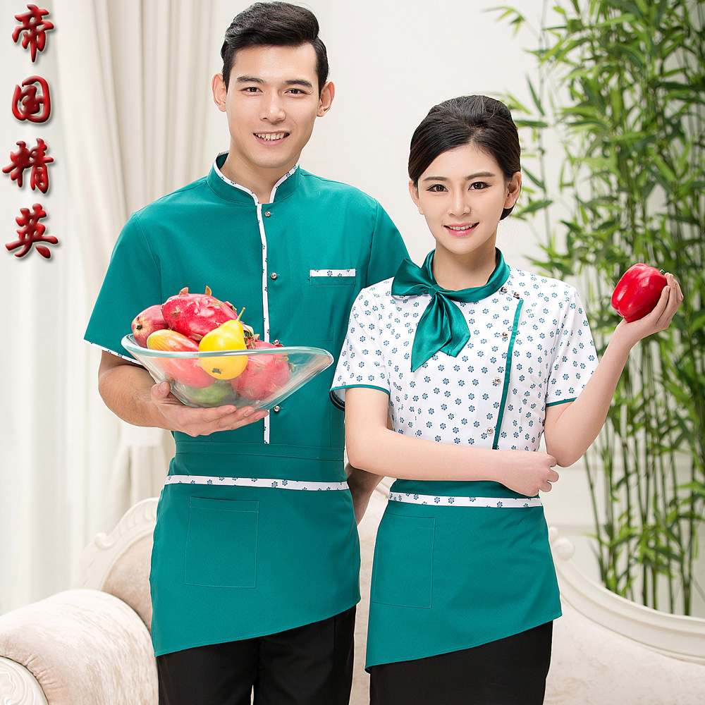 Hotel uniforms summer female restaurant pot shops catering hotel restaurant farmhouse yue work clothes short sleeve uniforms