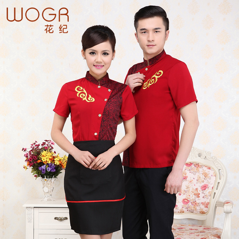 Hotel uniforms summer female restaurant waiter overalls sleeve short sleeve chinese restaurant hotel restaurant uniforms short sleeve