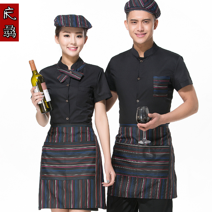Hotel uniforms summer female restaurant waiter uniforms overalls summer hotel restaurant fast food restaurant uniforms send apron
