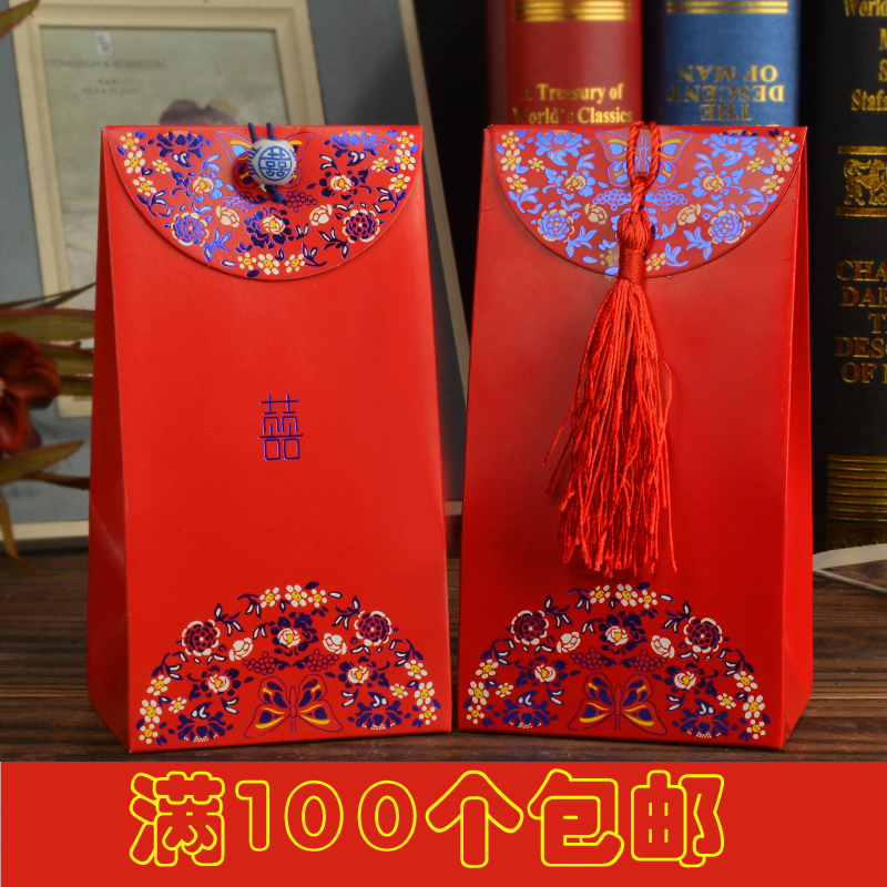 House red makeup wedding chinese tassels wedding supplies wedding candy bags creative candy box candy box carton 2016