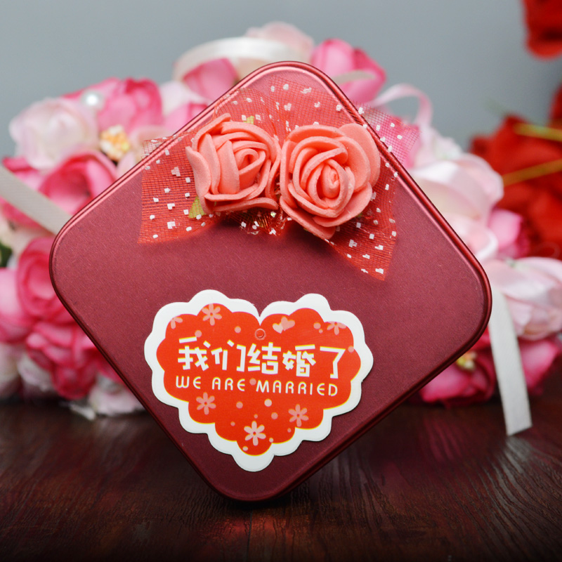 House red makeup wedding tin box candy box chinese style square sticky flower red tin marriage ceremony sugar box
