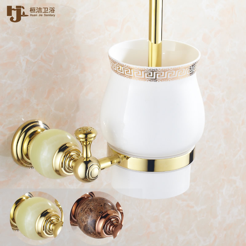 Huan jie natural jade european gold rose gold copper bathroom accessories toilet brush toilet suite marble