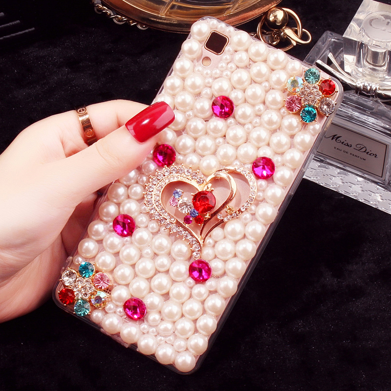 Huawei glory v8 mobile phone shell protective shell drill shell diamond mate8 lanyard pearl 5 x/mate7mini shell