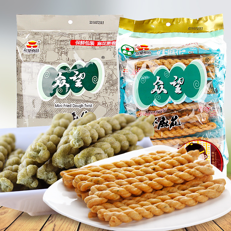 Hubei specialty zhongwang little twist 250g * 4 bags of seaweed salty/savory shallot traditional cakes snack