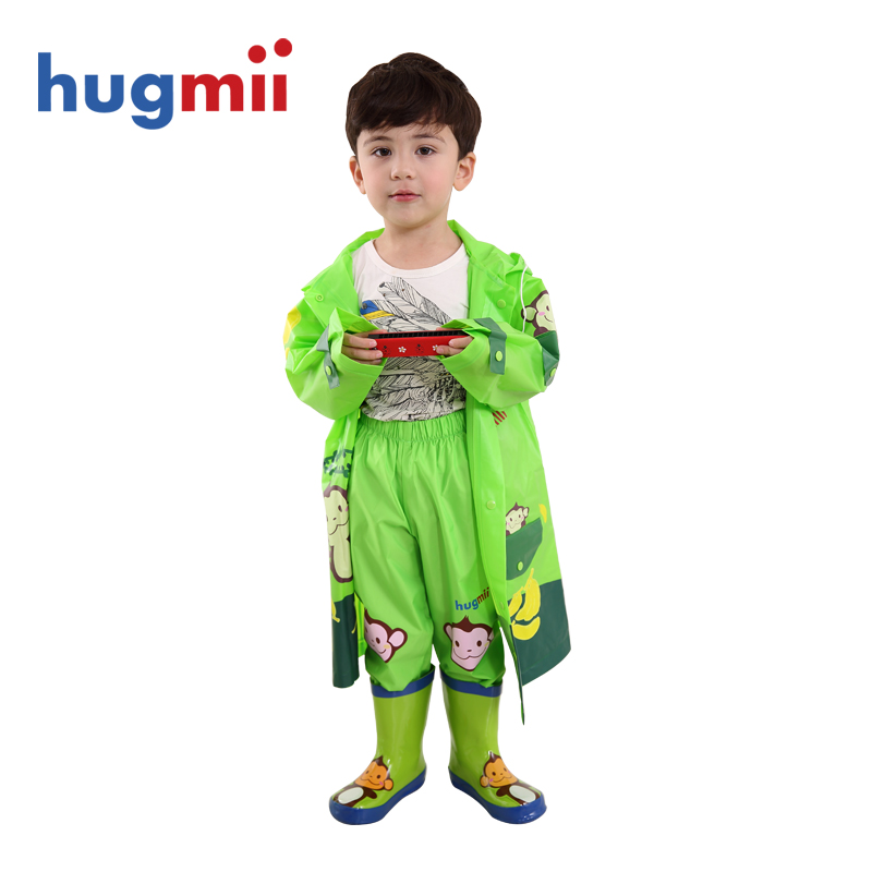 Hugmii children rubber rain boots rain gear raincoat rain pants suit men and women tong xuesheng baby three sets free shipping