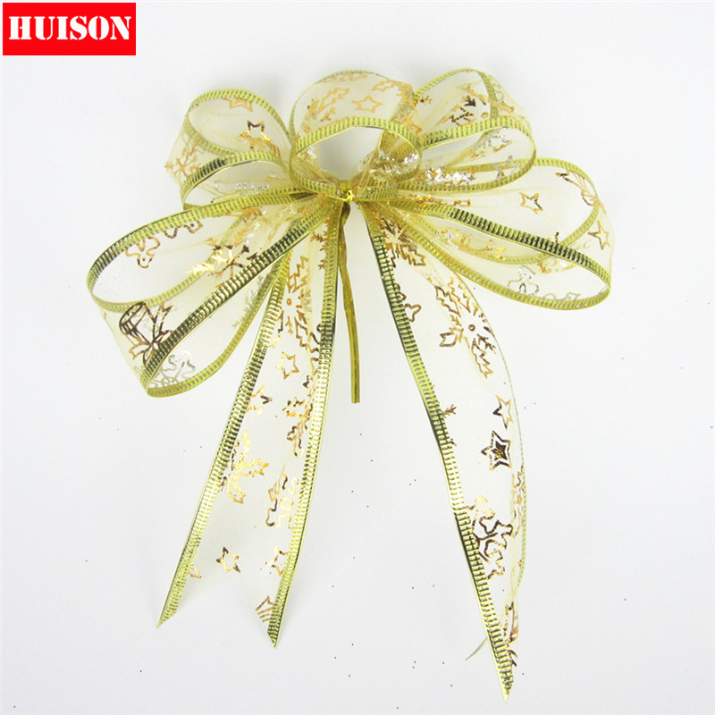 Huiso bronzing christmas christmas decorations christmas bow golden ribbon bow red bow