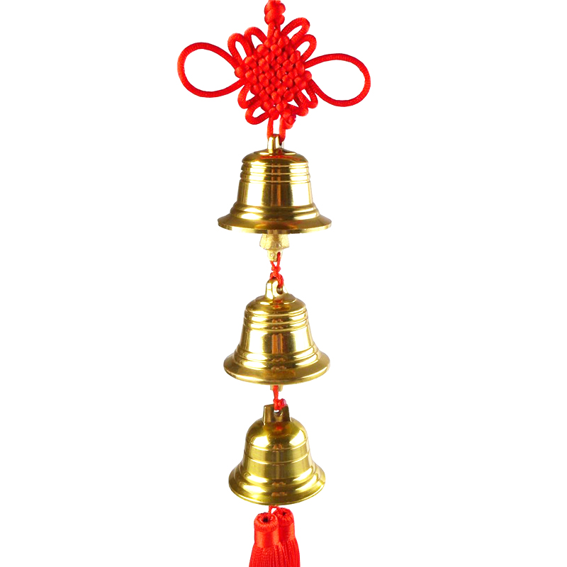 Humble court brass bell chimes copper five emperors money pendant for security and peace to resolve the five yellow two black