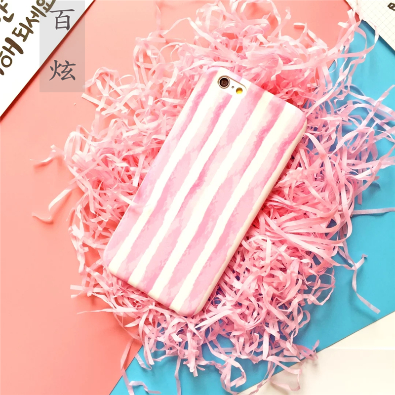 Hundred hyun love striped pink i6 apple phone shell iphone6s new soft shell mobile phone sets matte 4.7 inch