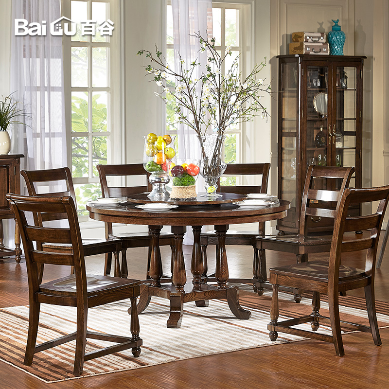 Hundred valleys all solid wood dining table round dining table dining table american country living room furniture dinette combination of U59