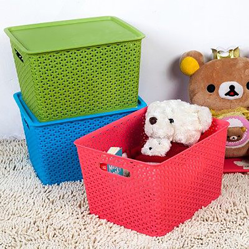 Hung off the hollow colored plastic storage box with lid storage box wardrobe clothes storage box finishing baskets desktop
