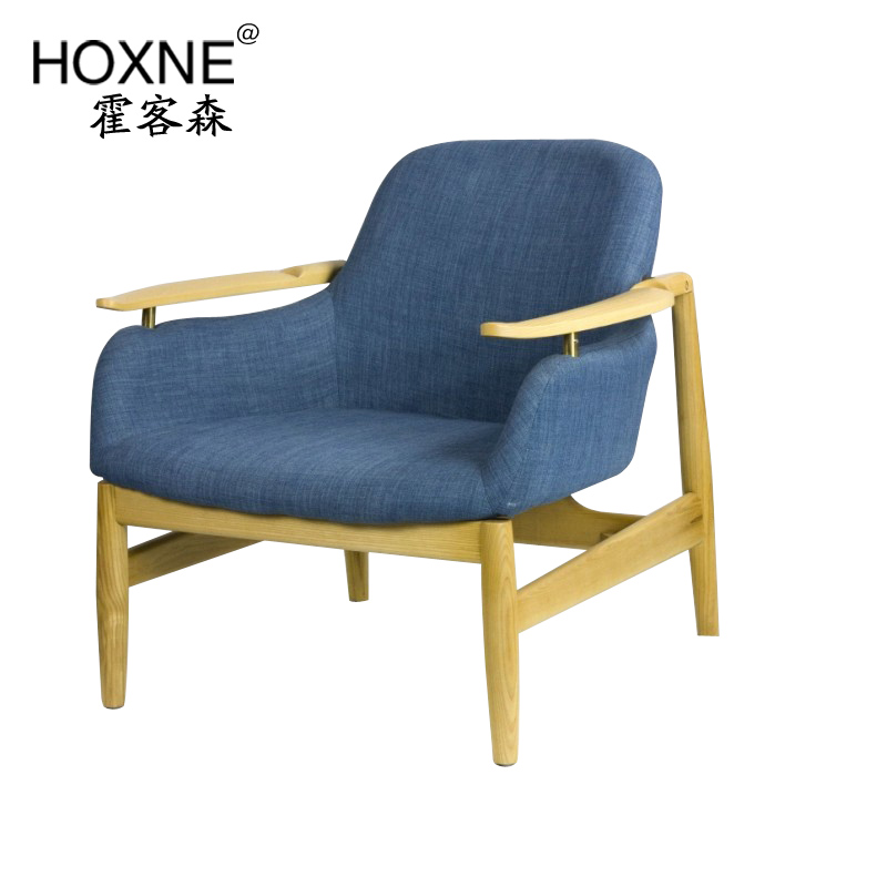 Huo customer sen nordic wood sofa chair leisure sofa chair cafe roolls multiplayer sofa single digit
