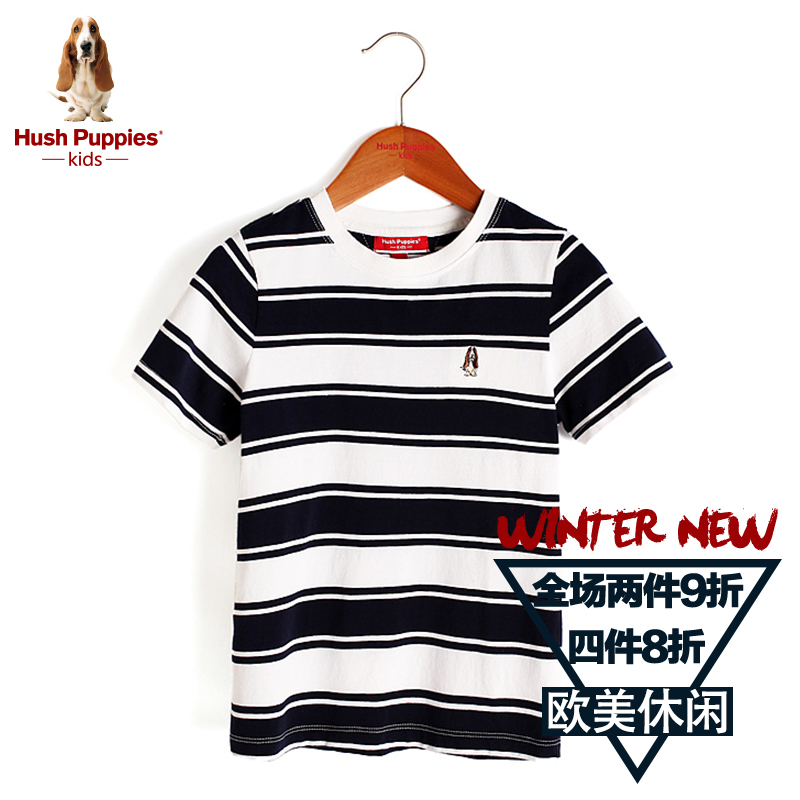 Hush puppies brand children's clothing big boy short sleeve t-shirt 2016 new summer children's clothing boys striped cotton shirt compassionate tide