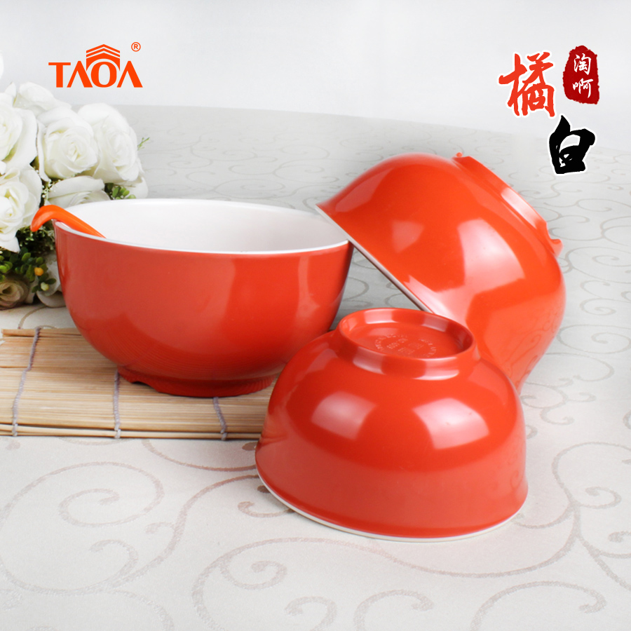 Hyun reached it is true glossy orange white color melamine bowl melamine bowl melamine tableware korean rice bowl dishes rice porridge Bowl