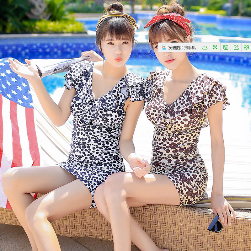 I swimsuit big yards was thin cover belly big chest swimsuit female conservative belly cover was thin retro 2 016 With sleeves cover the belly