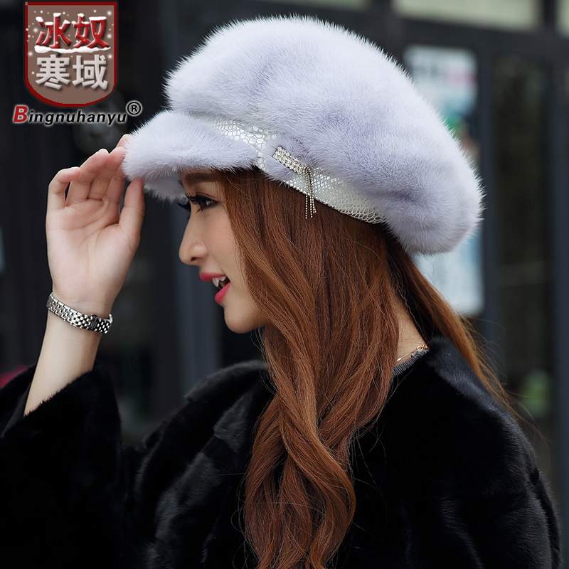 Get Quotations · Ice cold field slaves new ms. mink hat mink hat octagonal cap  hat warm winter 5507806b8cac