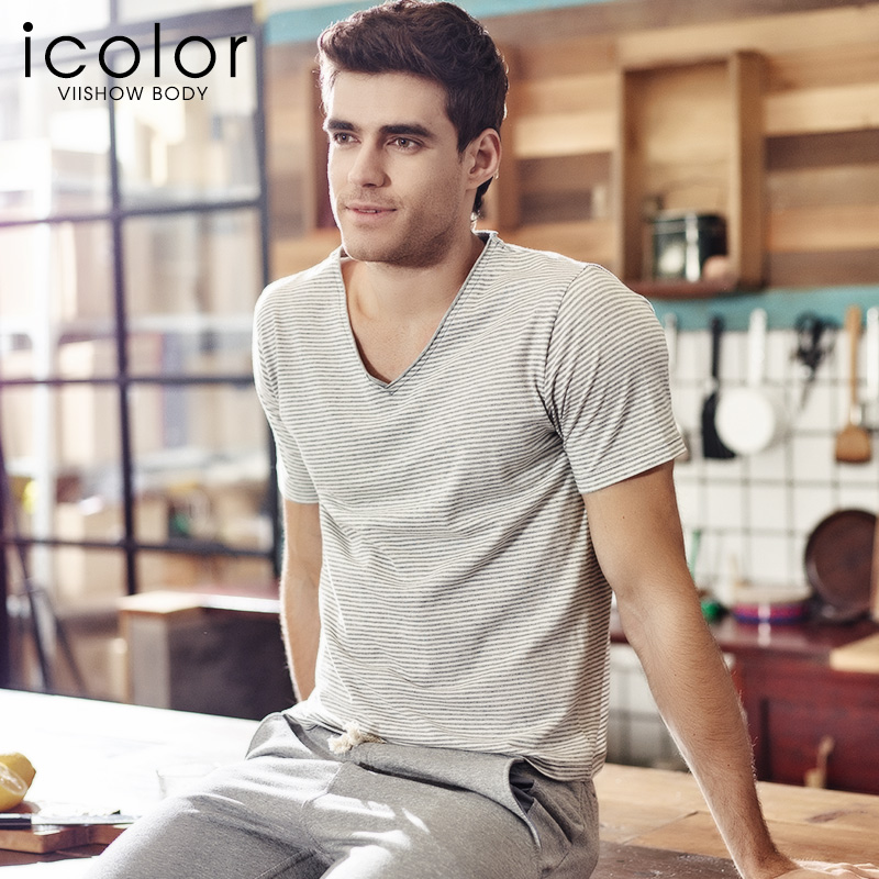 Icolor limited edition men's thin section cotton underwear spring and summer pajamas tracksuit short sleeve striped t-shirt
