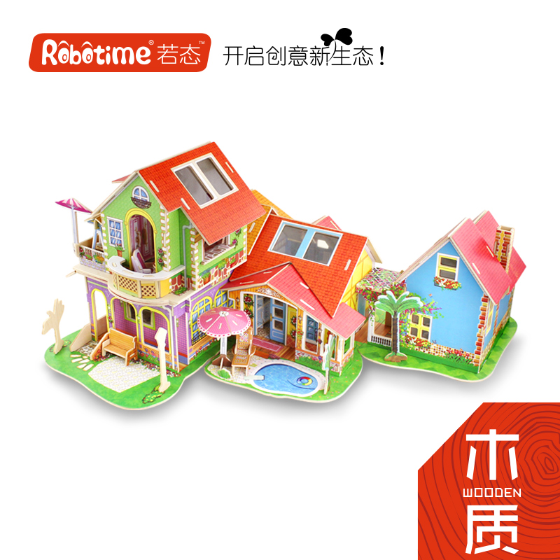 If the state of 3d wooden three-dimensional jigsaw puzzle diy cabin house building model dream villa fight inserted intelligence toys gift