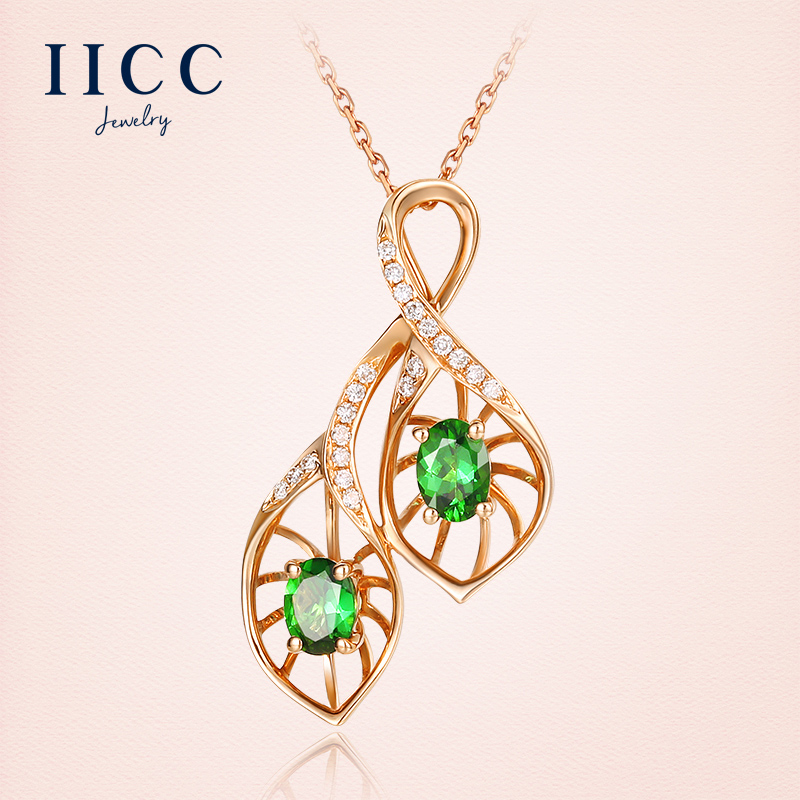 China custom jewelry necklace china custom jewelry necklace get quotations iicc18k gold necklace female green tourmaline gemstone clavicle chain rose gold pendant k gold diamond custom aloadofball Image collections