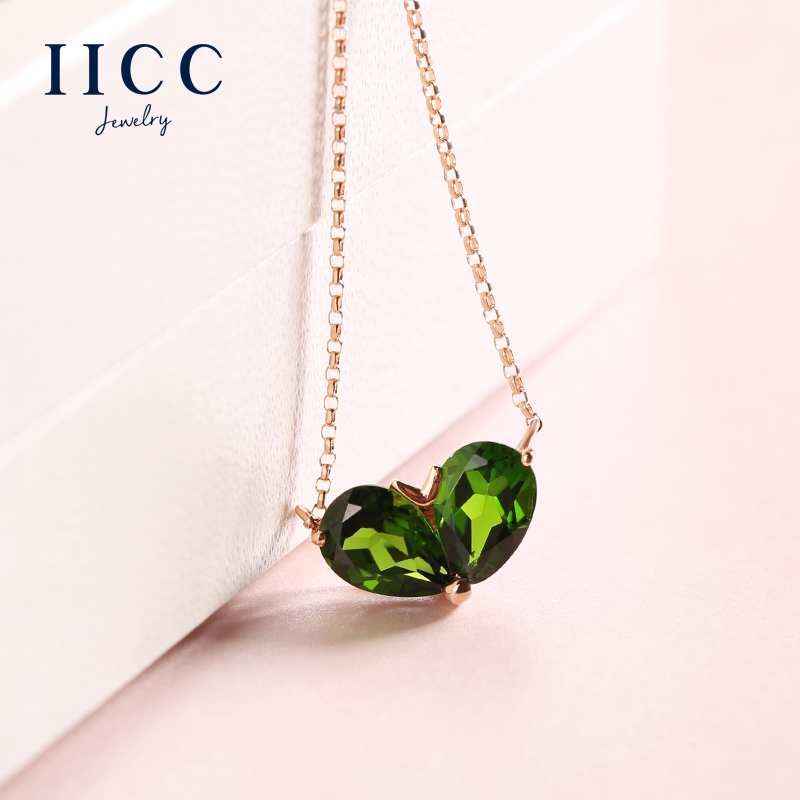 IiCC18K gold necklace female rose gold inlaid natural red tourmaline green tourmaline gemstone heart shaped pendant clavicle chain